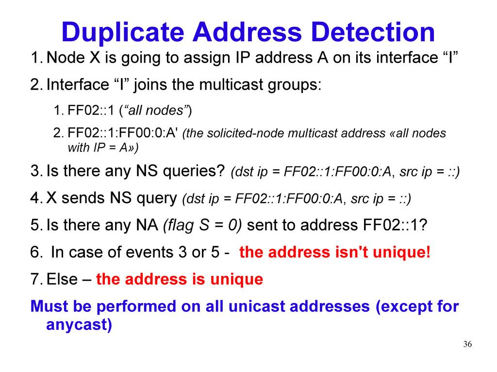 36 Duplicate Address Detection 1.Node X is goin...