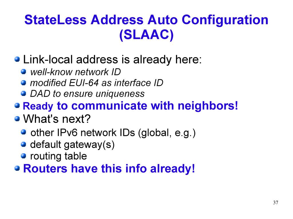 37 StateLess Address Auto Configuration (SLAAC)...