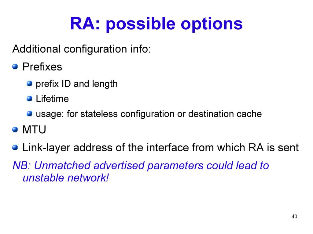 40 RA: possible options Additional configuratio...