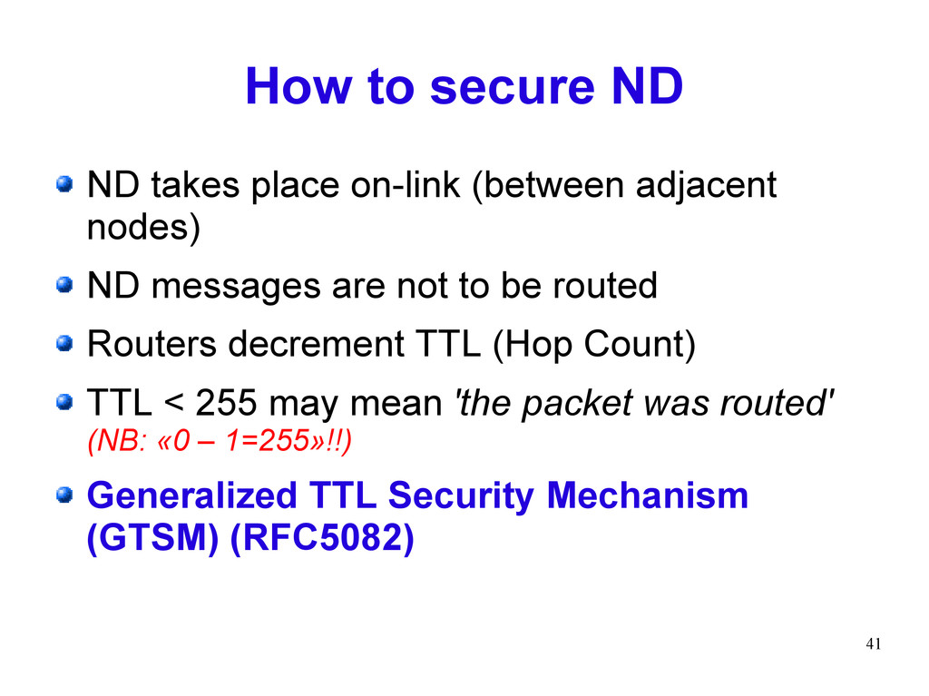 41 How to secure ND ND takes place on-link (bet...