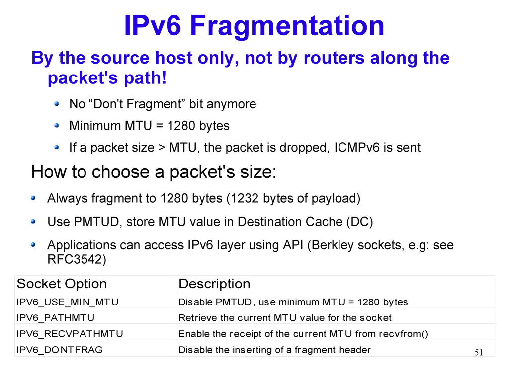 51 IPv6 Fragmentation By the source host only, ...