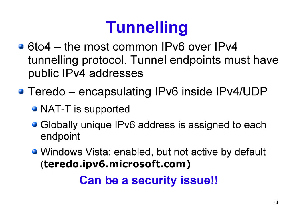 54 Tunnelling 6to4 – the most common IPv6 over ...