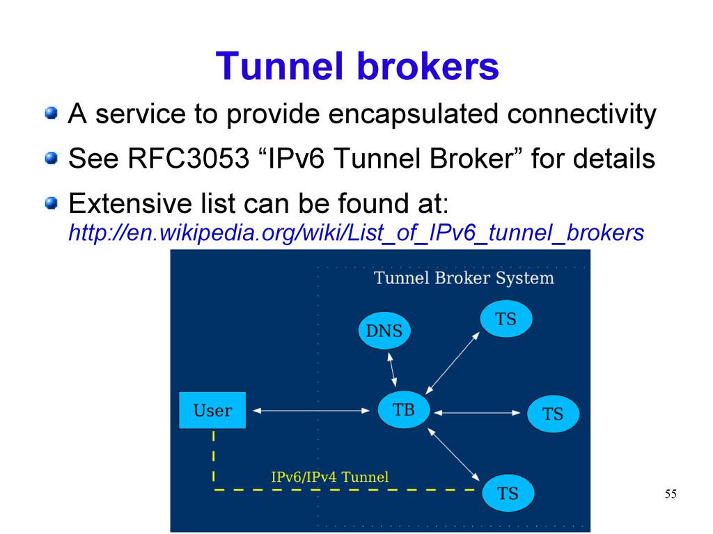 55 Tunnel brokers A service to provide encapsul...