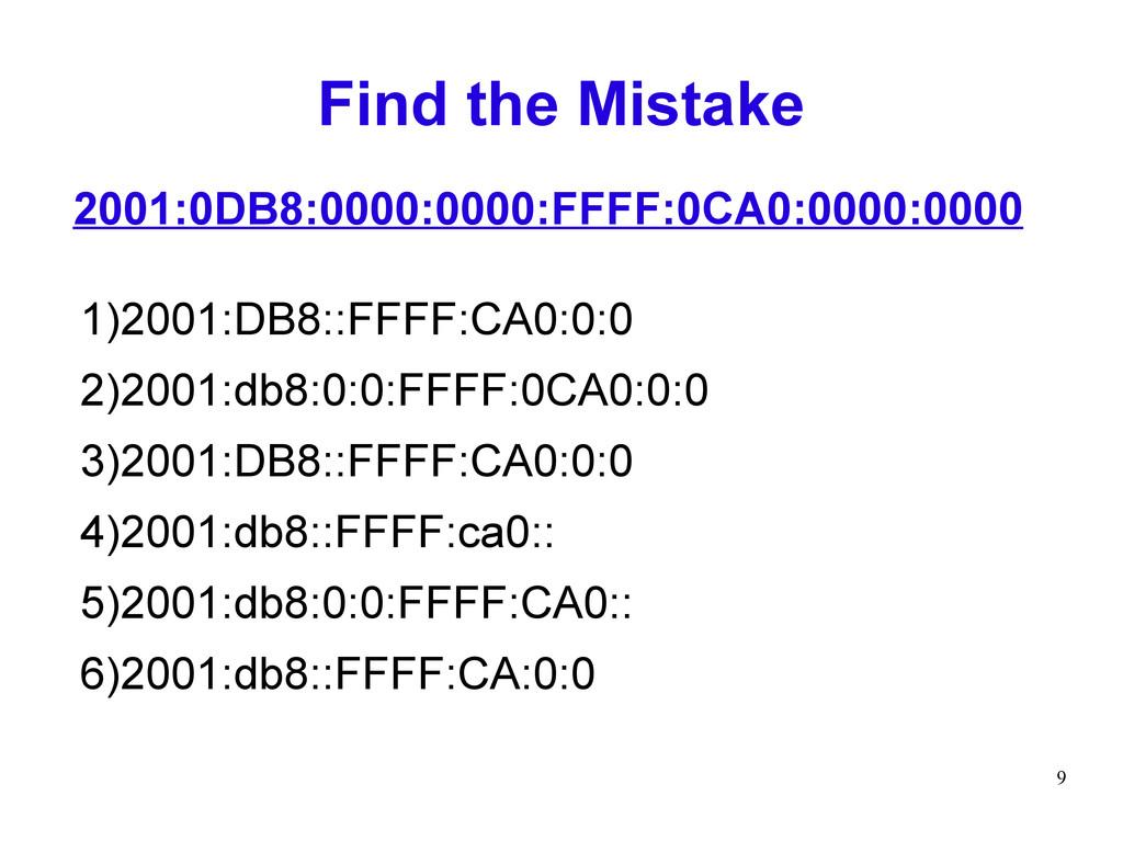 9 Find the Mistake 1)2001:DB8::FFFF:CA0:0:0 2)2...
