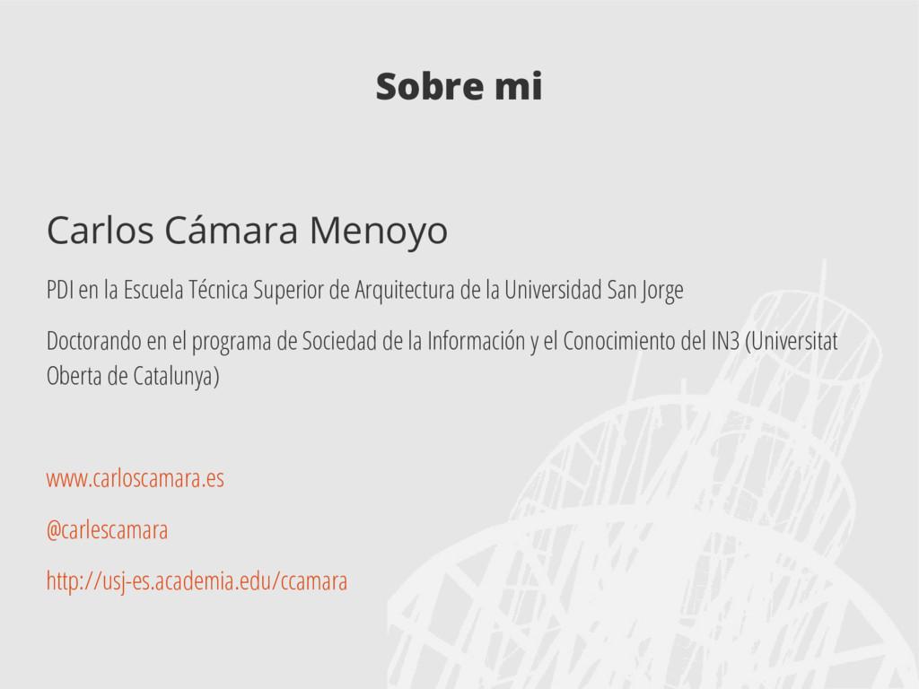 Sobre mi Carlos Cámara Menoyo PDI en la Escuela...