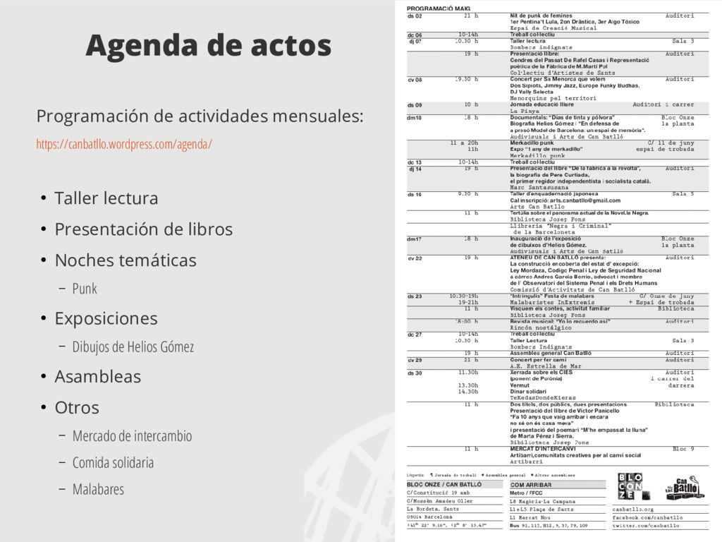 Agenda de actos Programación de actividades men...