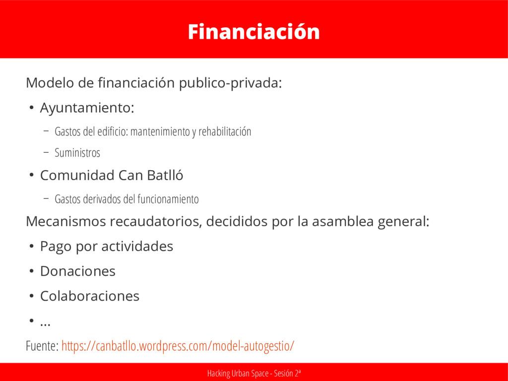 Hacking Urban Space - Sesión 2ª Financiación Mo...
