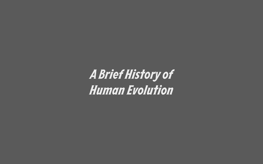 A Brief History of Human Evolution