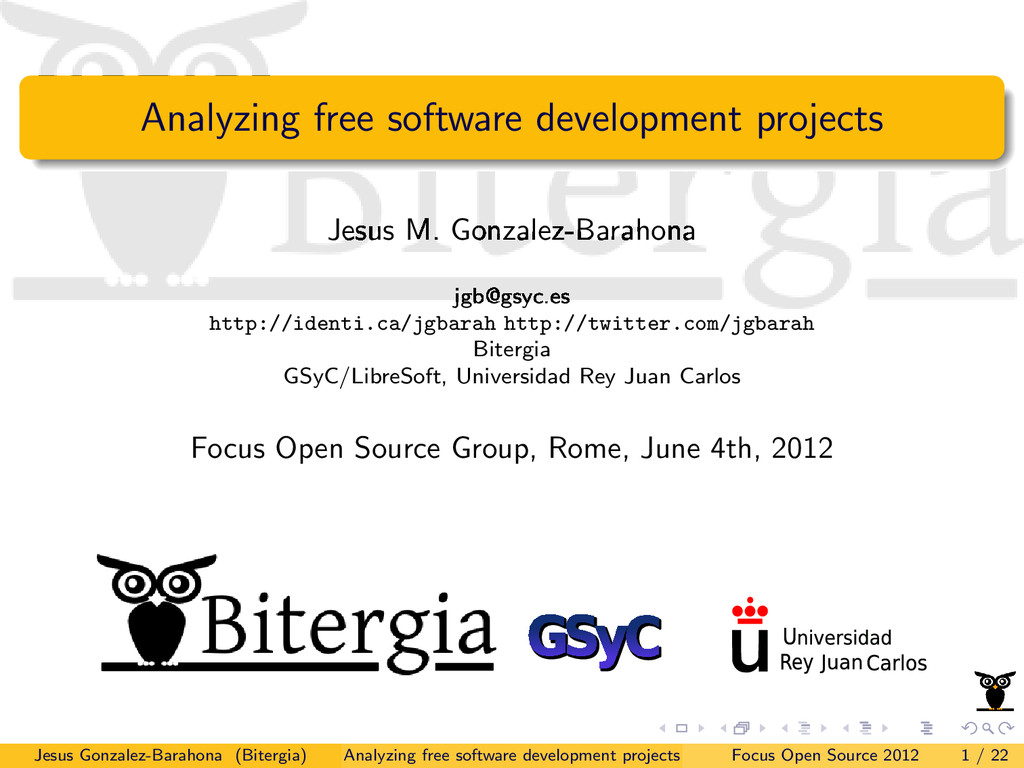 Analyzing free software development projects Je...