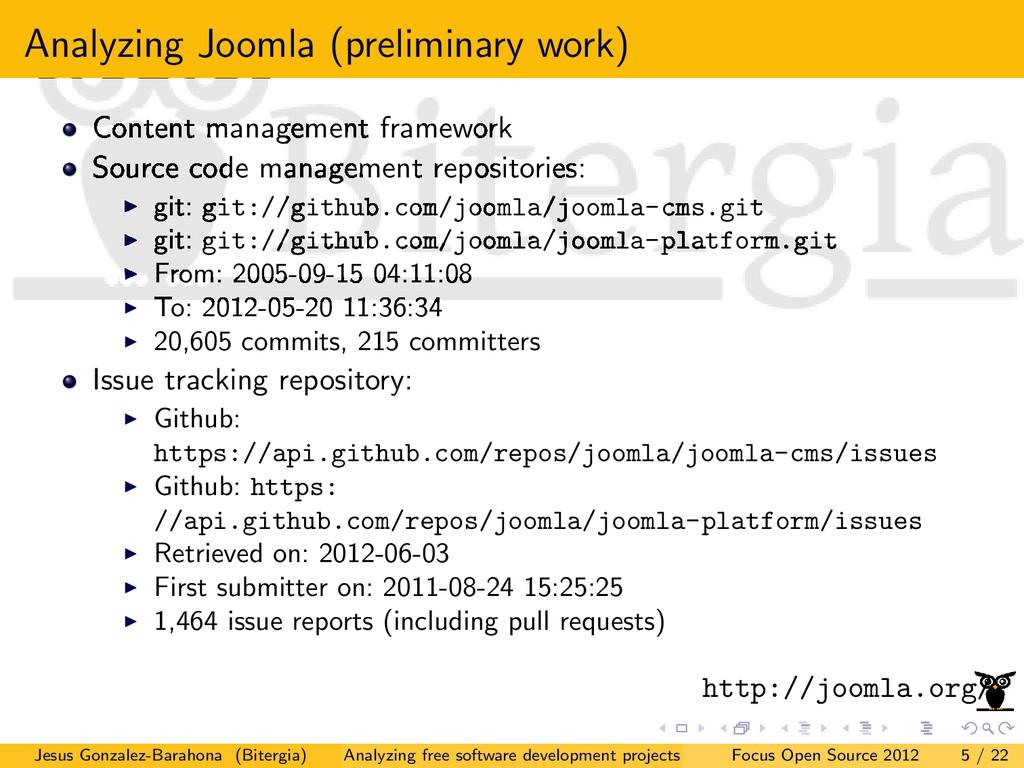 Analyzing Joomla (preliminary work) Content man...