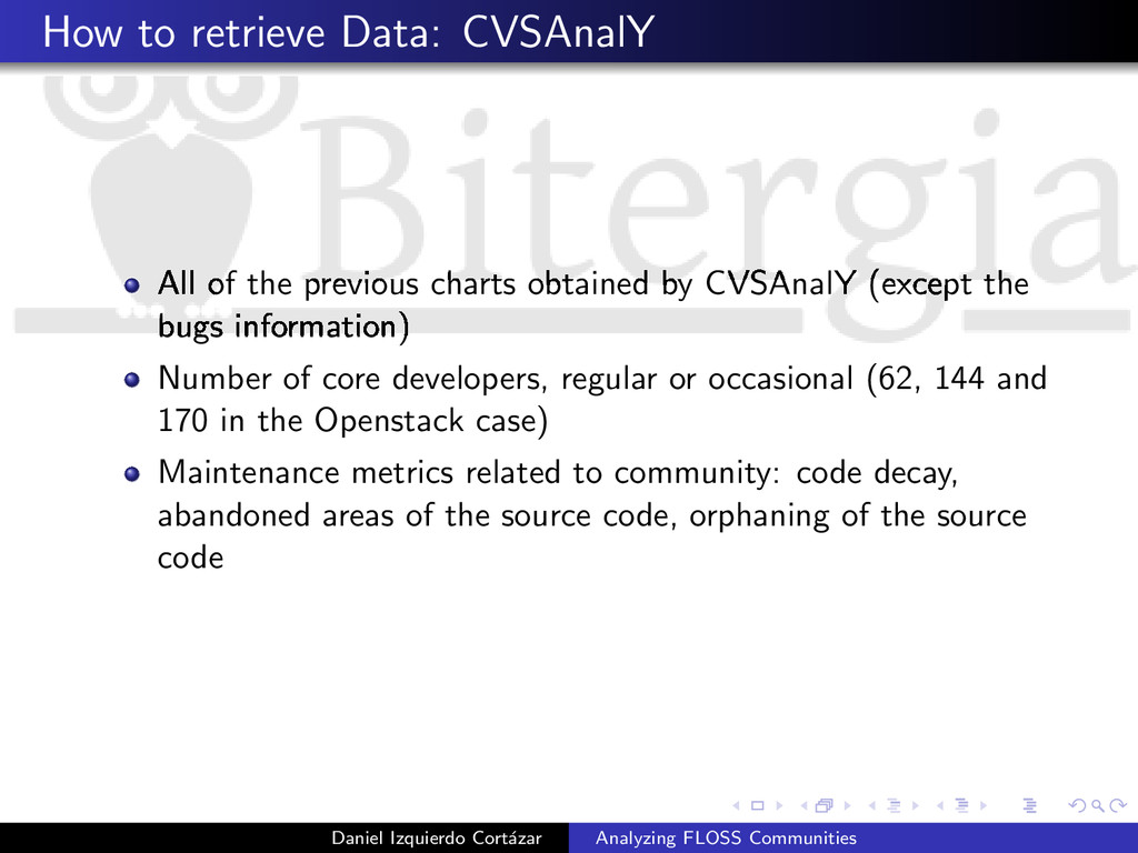 How to retrieve Data: CVSAnalY All of the previ...