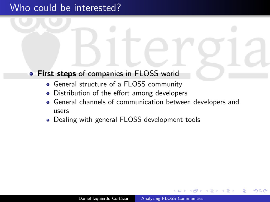 Who could be interested? First steps of compani...