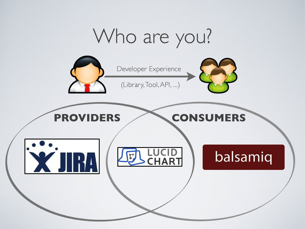 Who are you? PROVIDERS CONSUMERS Developer Expe...