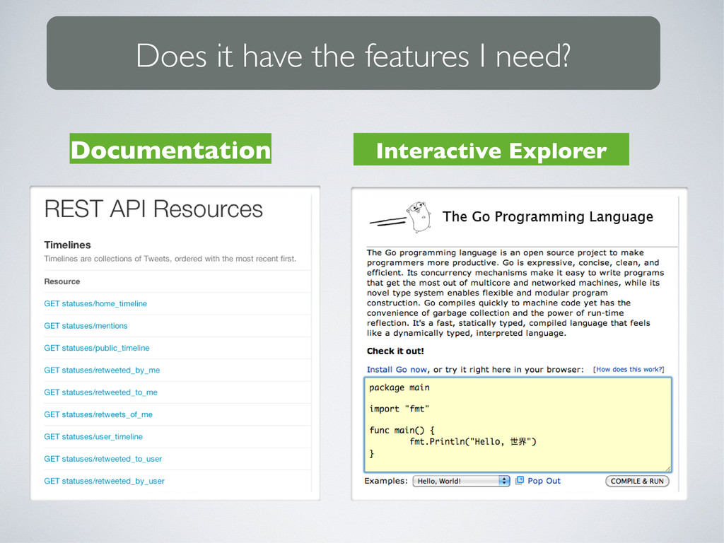 Documentation Interactive Explorer Does it have...