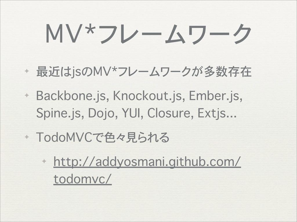 MV*フレームワーク ✦ 最近はjsのMV*フレームワークが多数存在 ✦ Backbone.j...