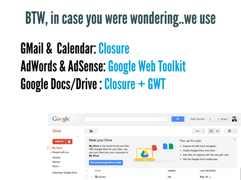 GMail & Calendar: Closure AdWords & AdSense: Go...