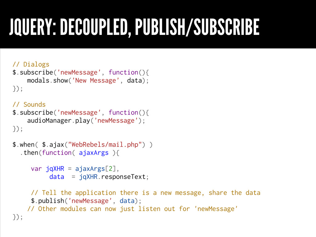 JQUERY: DECOUPLED, PUBLISH/SUBSCRIBE // Dialogs...