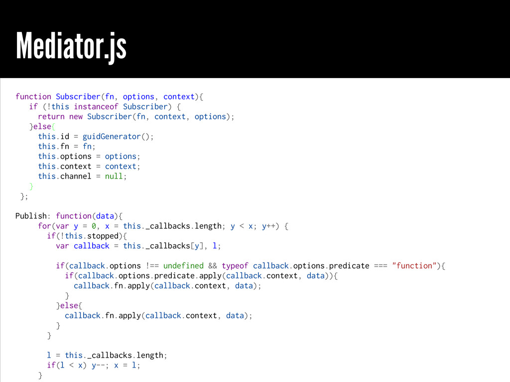 Mediator.js function Subscriber(fn, options, co...