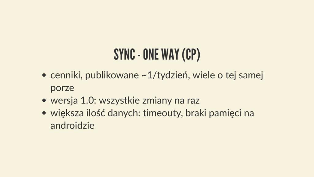SYNC - ONE WAY (CP) cenniki, publikowane ~1/tyd...
