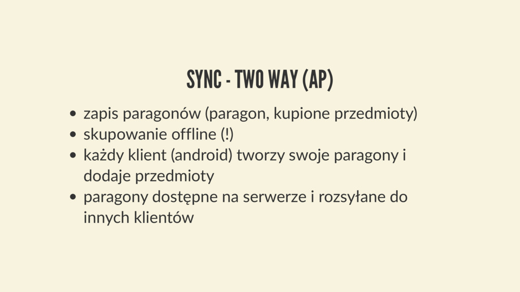 SYNC - TWO WAY (AP) zapis paragonów (paragon, k...