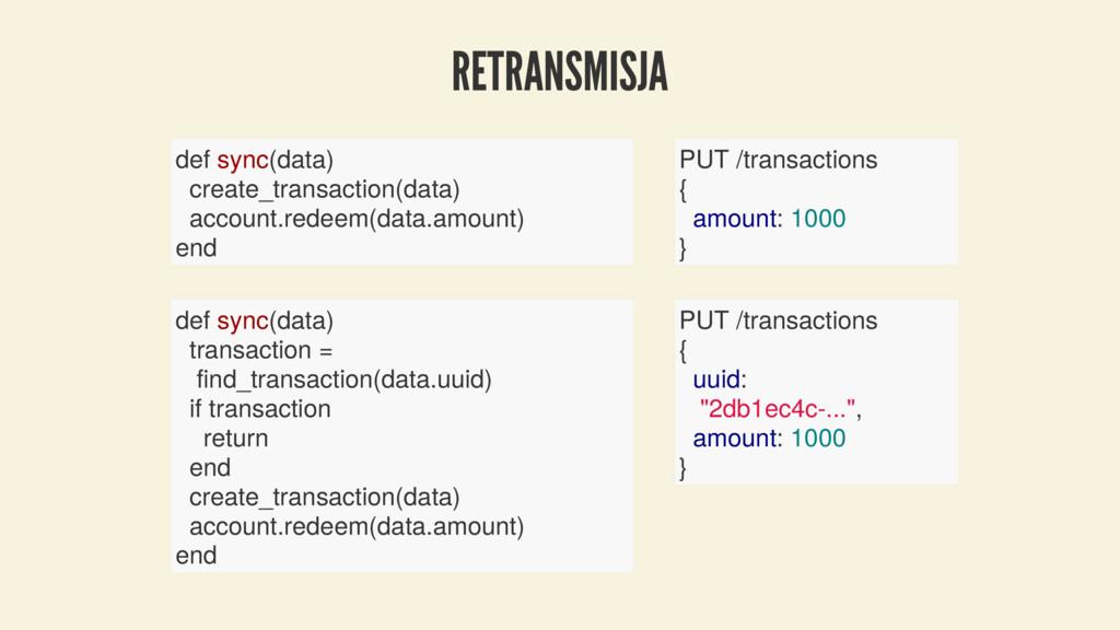 RETRANSMISJA def sync(data) create_transaction(...