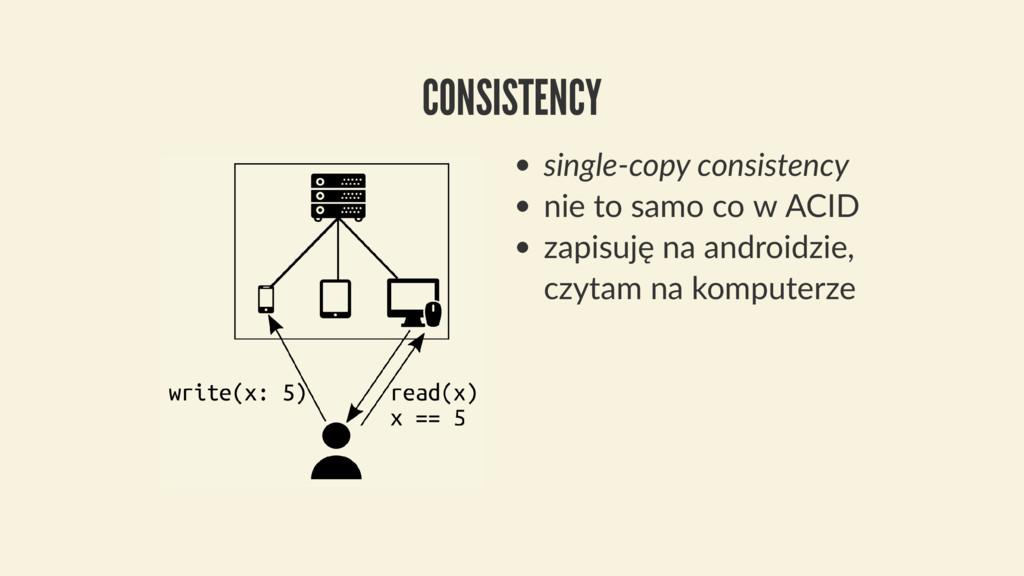 single-copy consistency nie to samo co w ACID z...