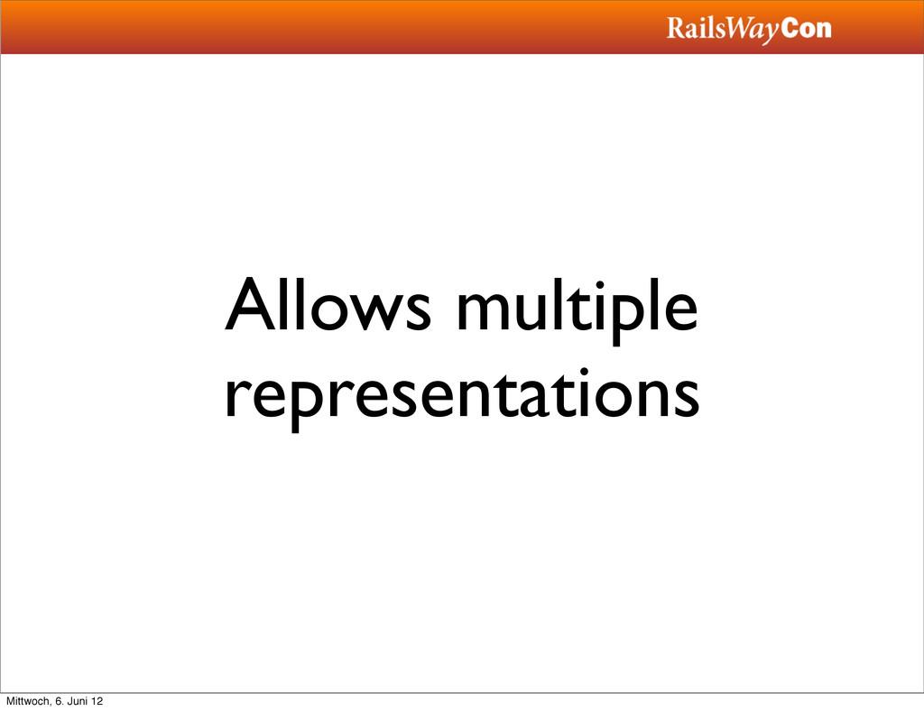 Allows multiple representations Mittwoch, 6. Ju...