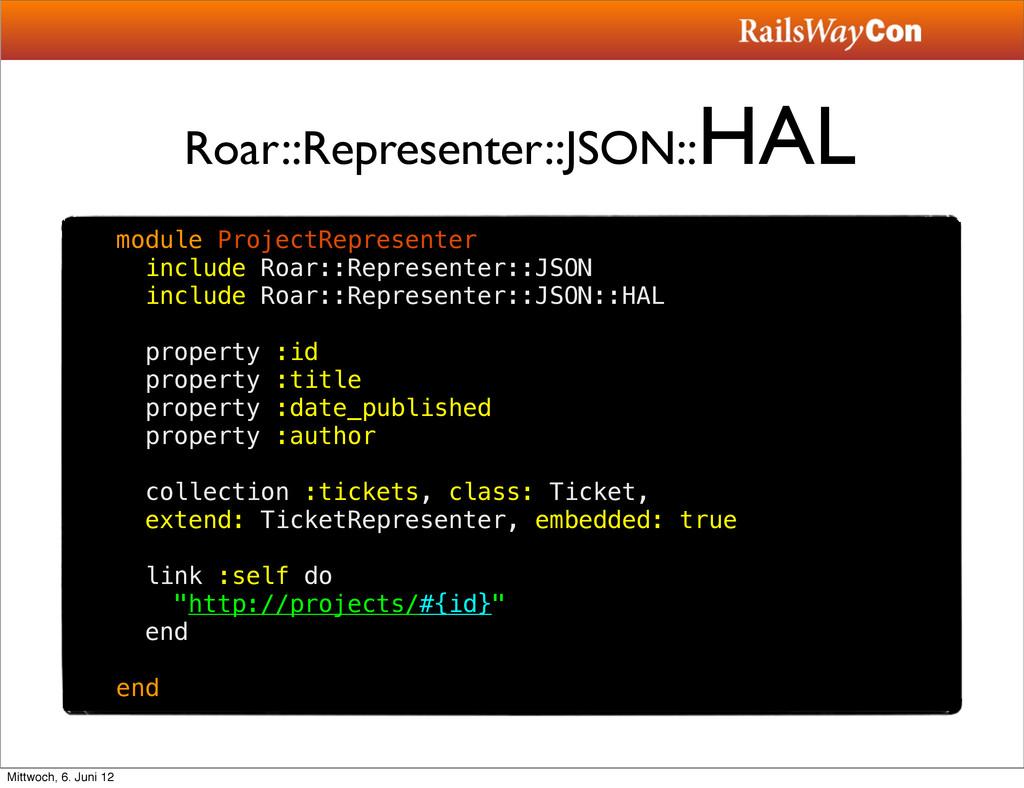 Roar::Representer::JSON:: HAL module ProjectRep...