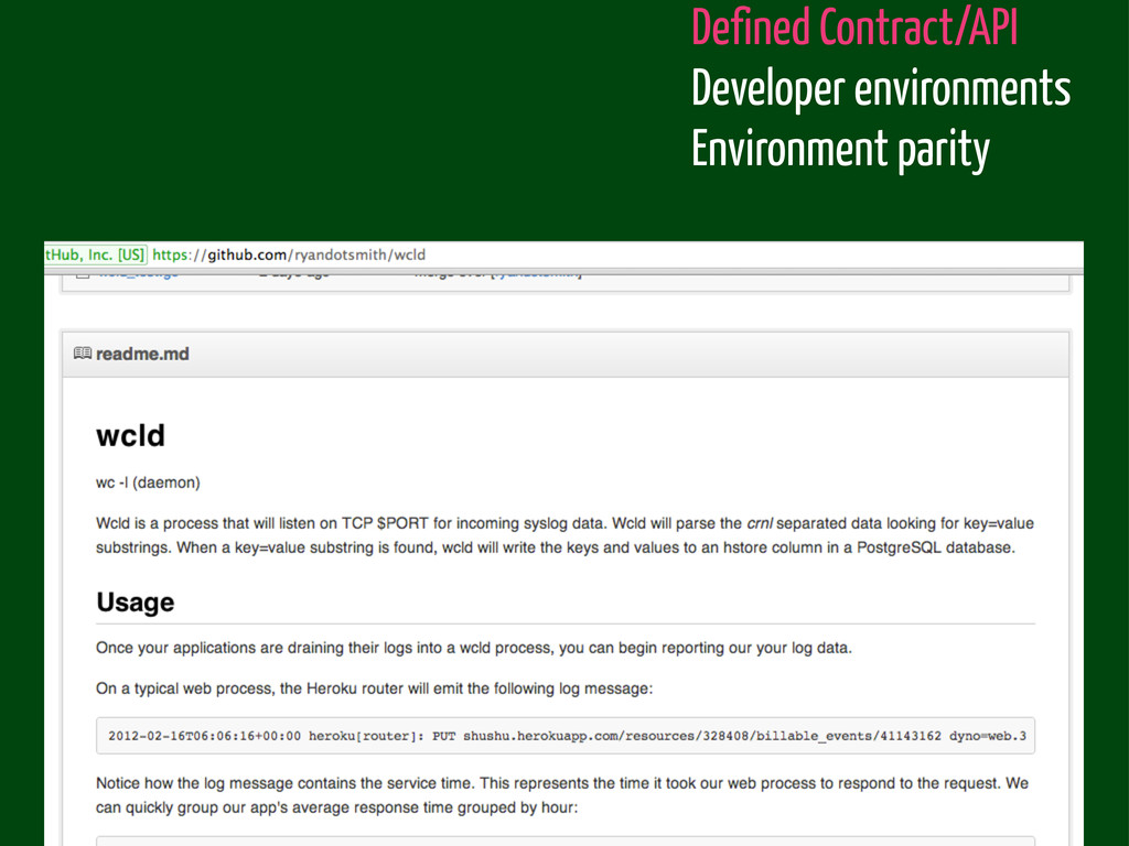Defined Contract/API Developer environments Env...