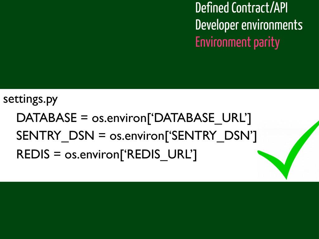 settings.py DATABASE = os.environ['DATABASE_URL...