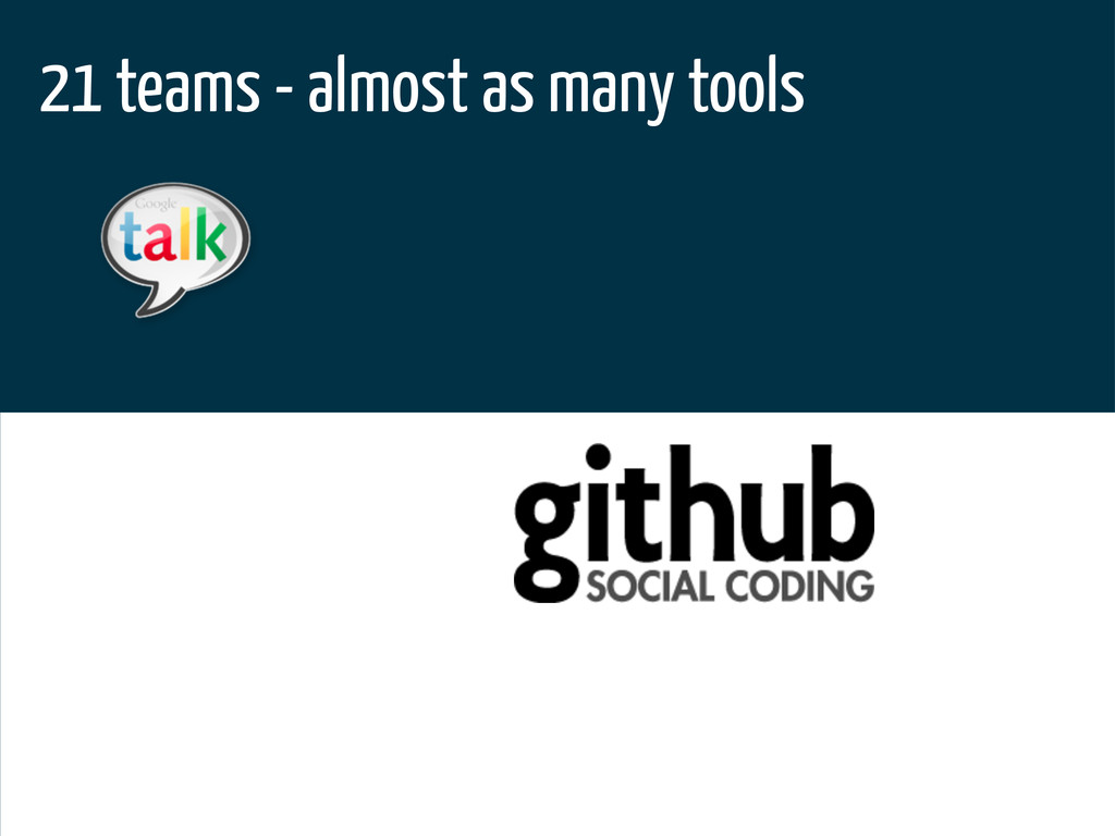 21 teams - almost as many tools