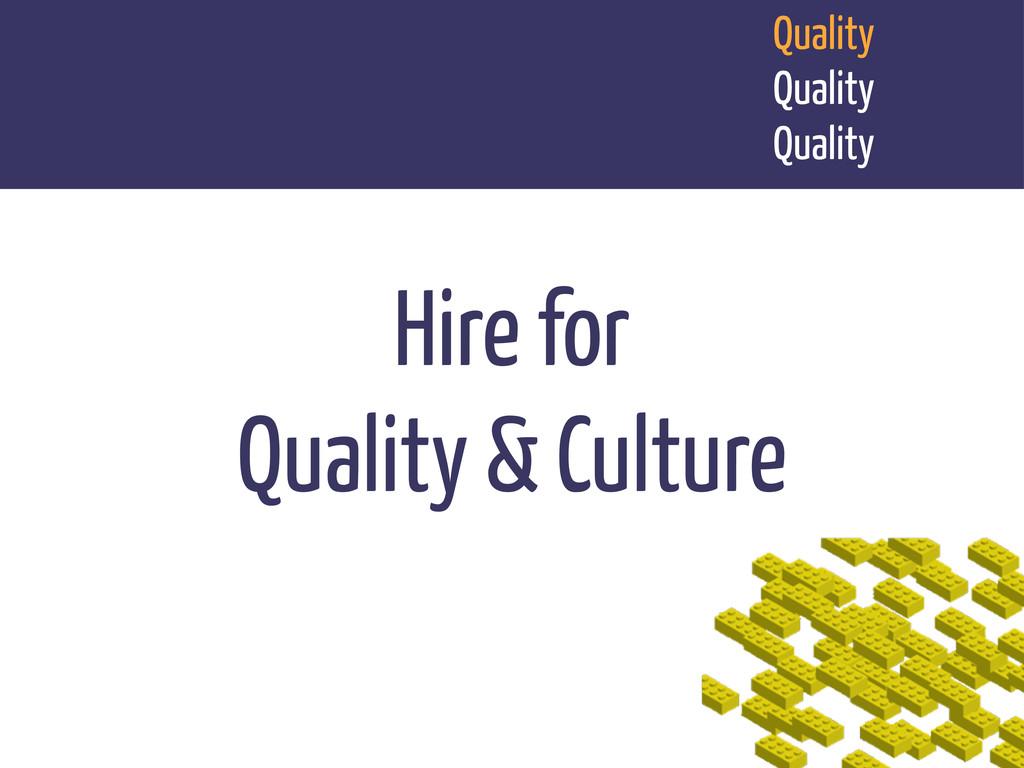 Quality Quality Quality Hire for Quality & Cult...