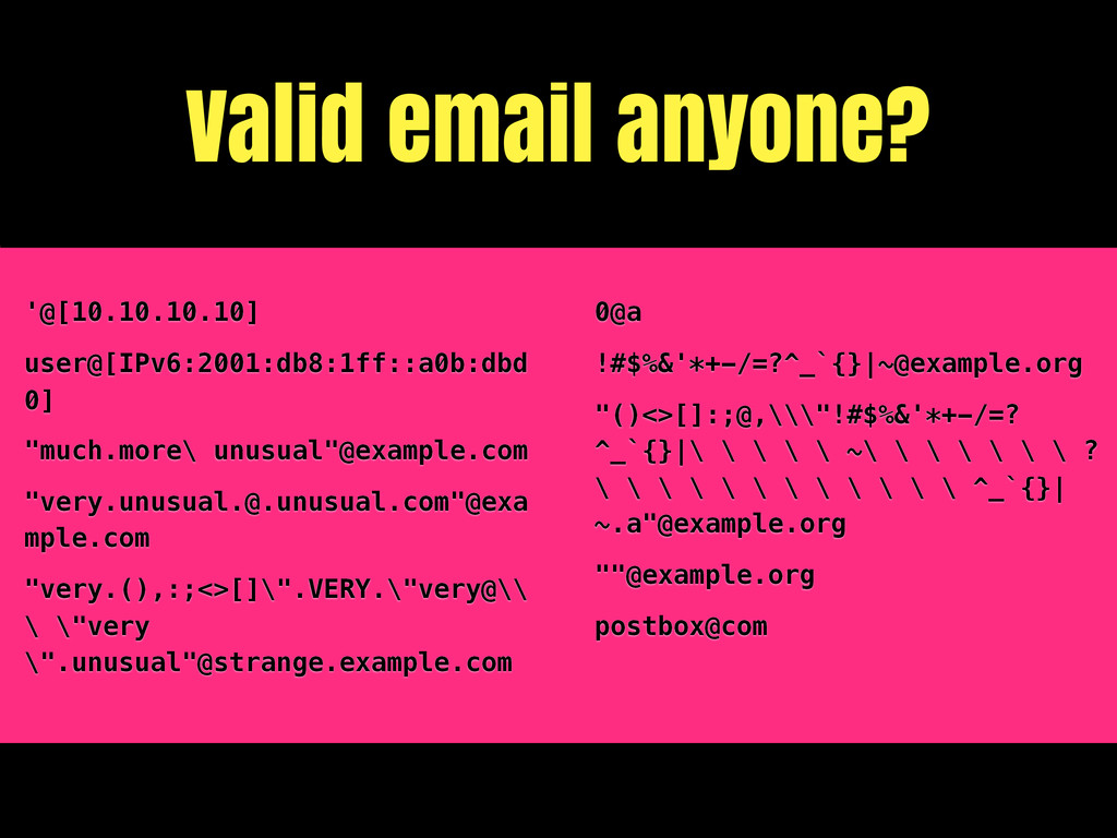Valid email anyone? '@[10.10.10.10] user@[IPv6:...