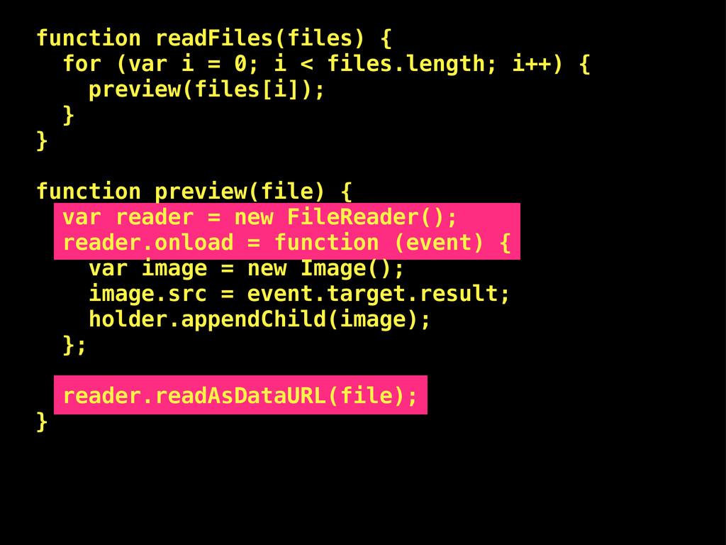 function readFiles(files) { for (var i = 0; i <...