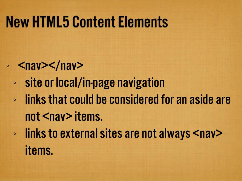 New HTML5 Content Elements <nav></nav> site or ...