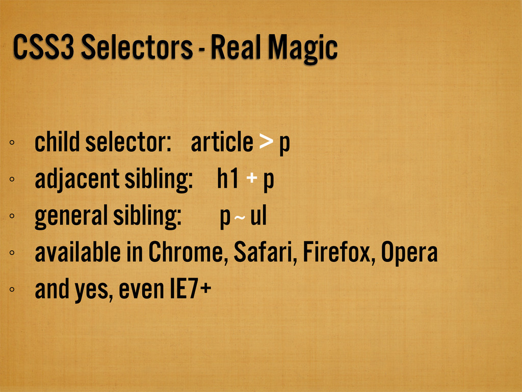 CSS3 Selectors - Real Magic child selector: art...