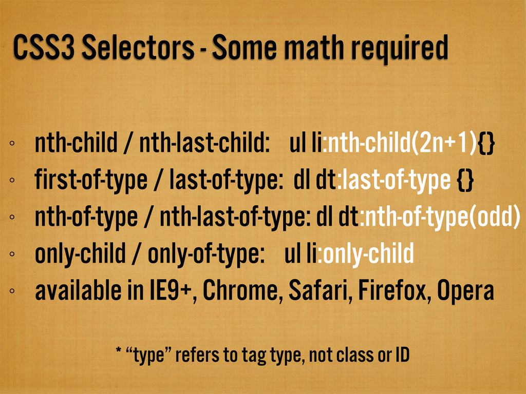 CSS3 Selectors - Some math required nth-child /...
