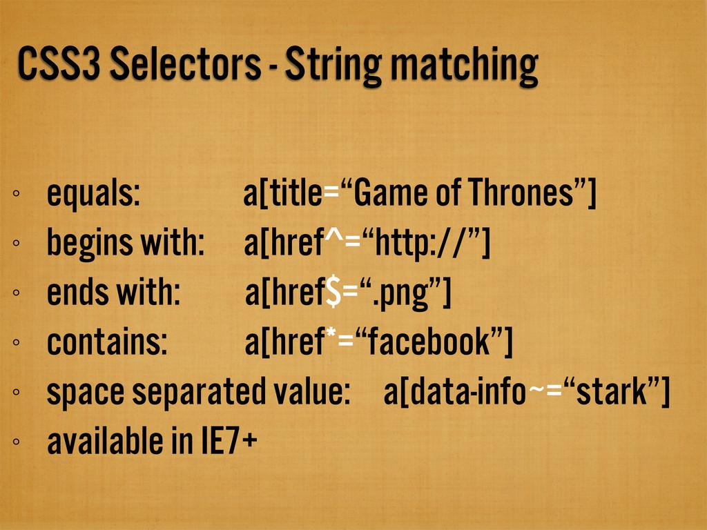 CSS3 Selectors - String matching equals: a[titl...