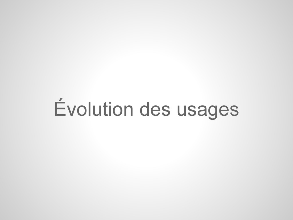 Évolution des usages
