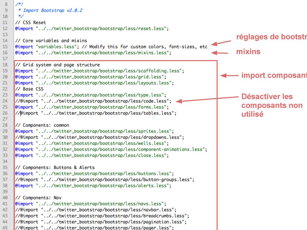 réglages de bootstr Désactiver les composants n...
