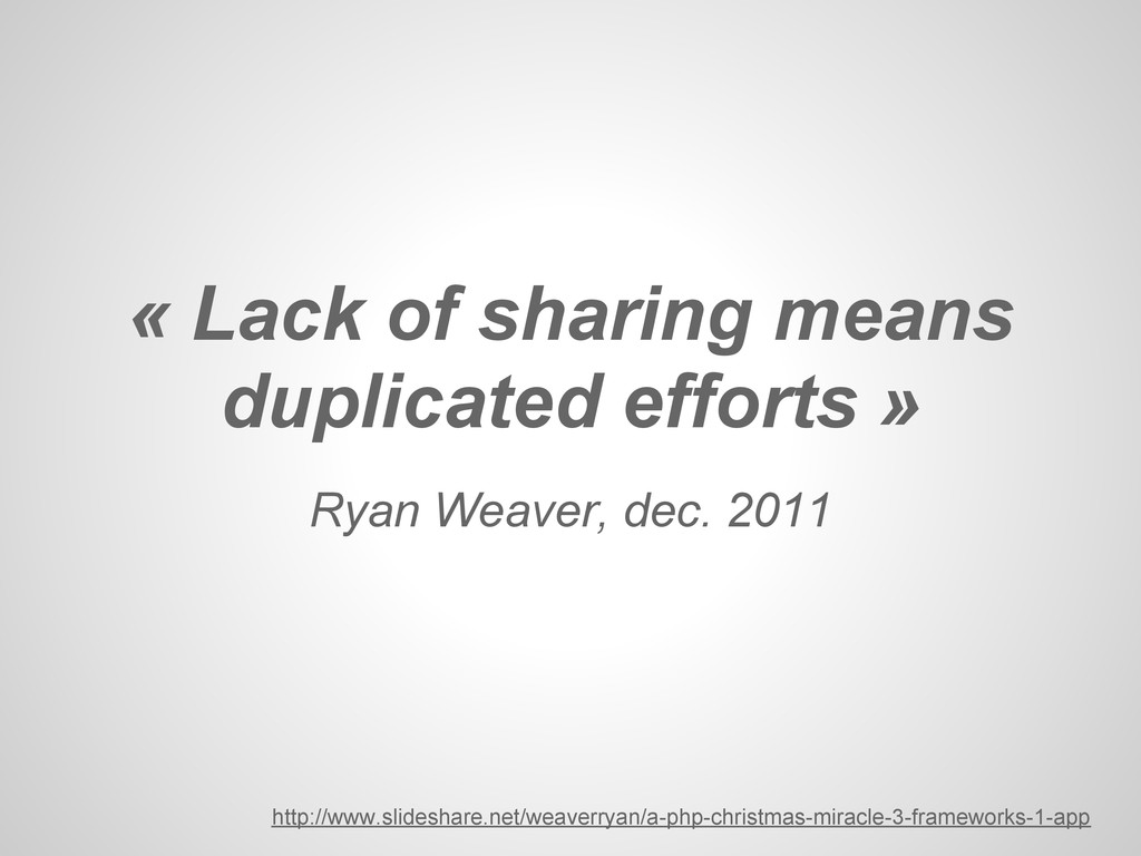 Ryan Weaver, dec. 2011 « Lack of sharing means ...