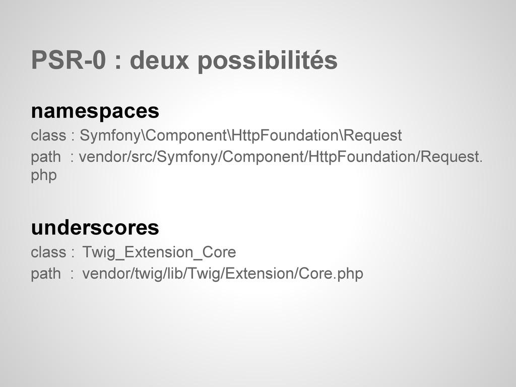 PSR-0 : deux possibilités namespaces class : Sy...