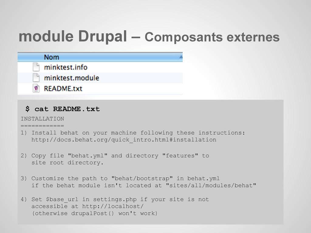 module Drupal – Composants externes $ cat READM...