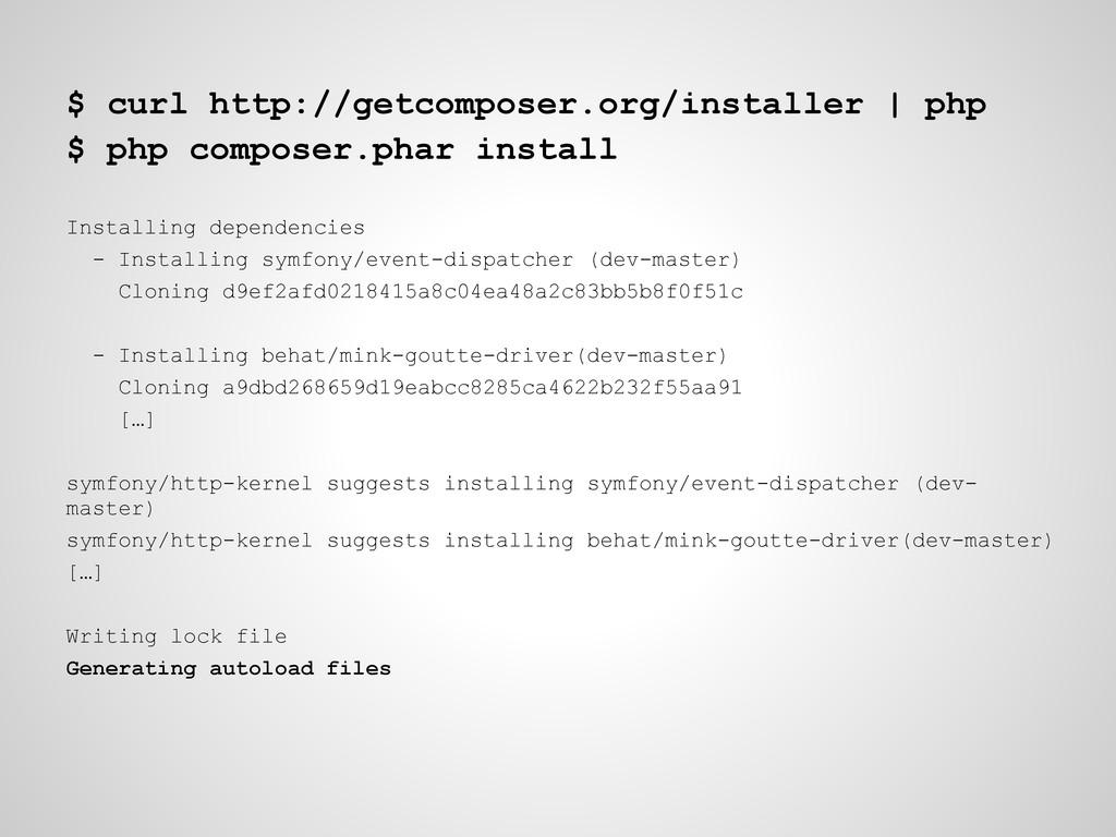 $ curl http://getcomposer.org/installer   php $...