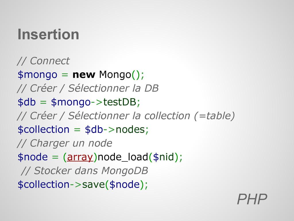 // Connect $mongo = new Mongo(); // Créer / Sél...