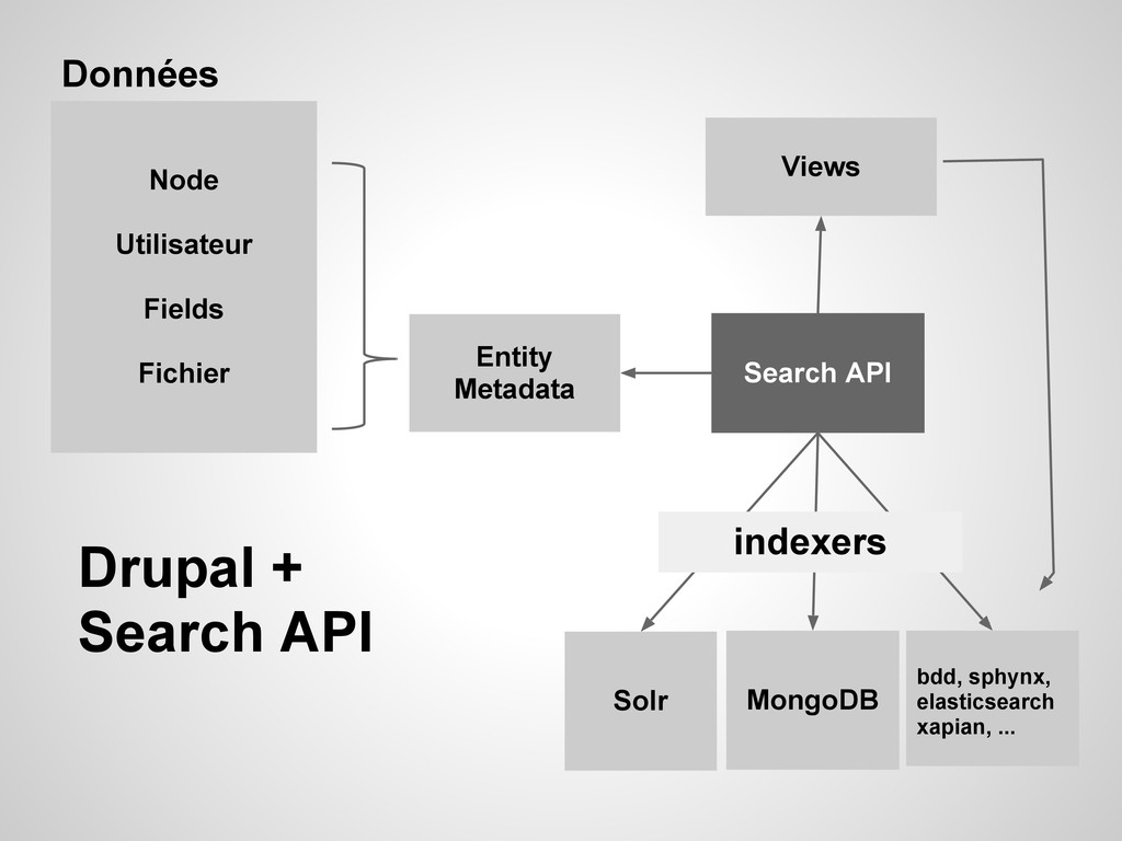 Entity Metadata Search API Solr MongoDB bdd, sp...
