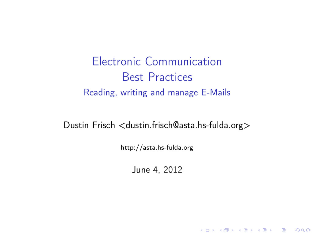 Electronic Communication Best Practices Reading...