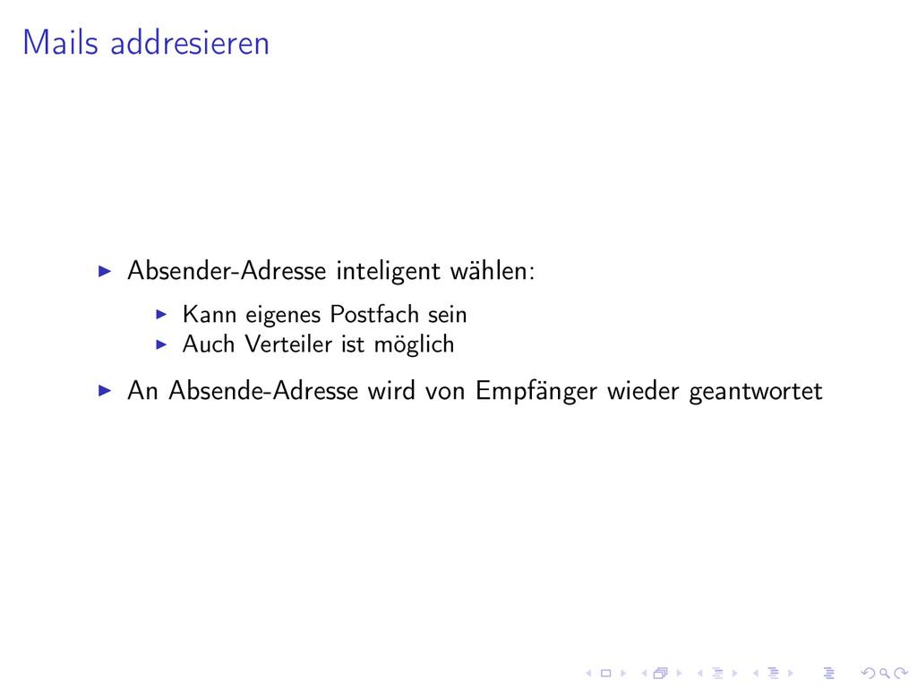 Mails addresieren Absender-Adresse inteligent w...