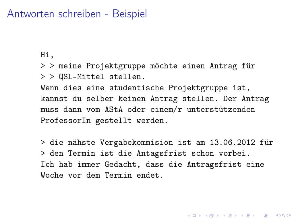 Antworten schreiben - Beispiel Hi, > > meine Pr...