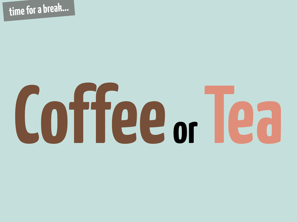 Coffee or Tea time for a break...